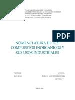 Nomenclatura de Los Compuestos Inorgánicos y Sus Usos Industriales