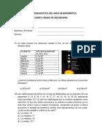 Evaluación diagnóstica MATEMÁTICA - 5°