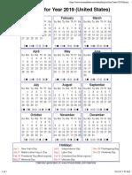 Year 2019 Calendar – United States