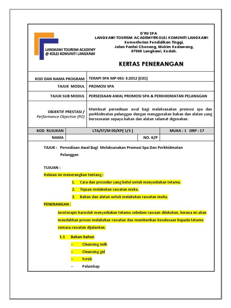 Promosi Spa Dan Perkhidmatan Pelanggan Docx