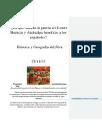 Como la guerra entre Atahualpa y Huayna Capac benificio a los españoles