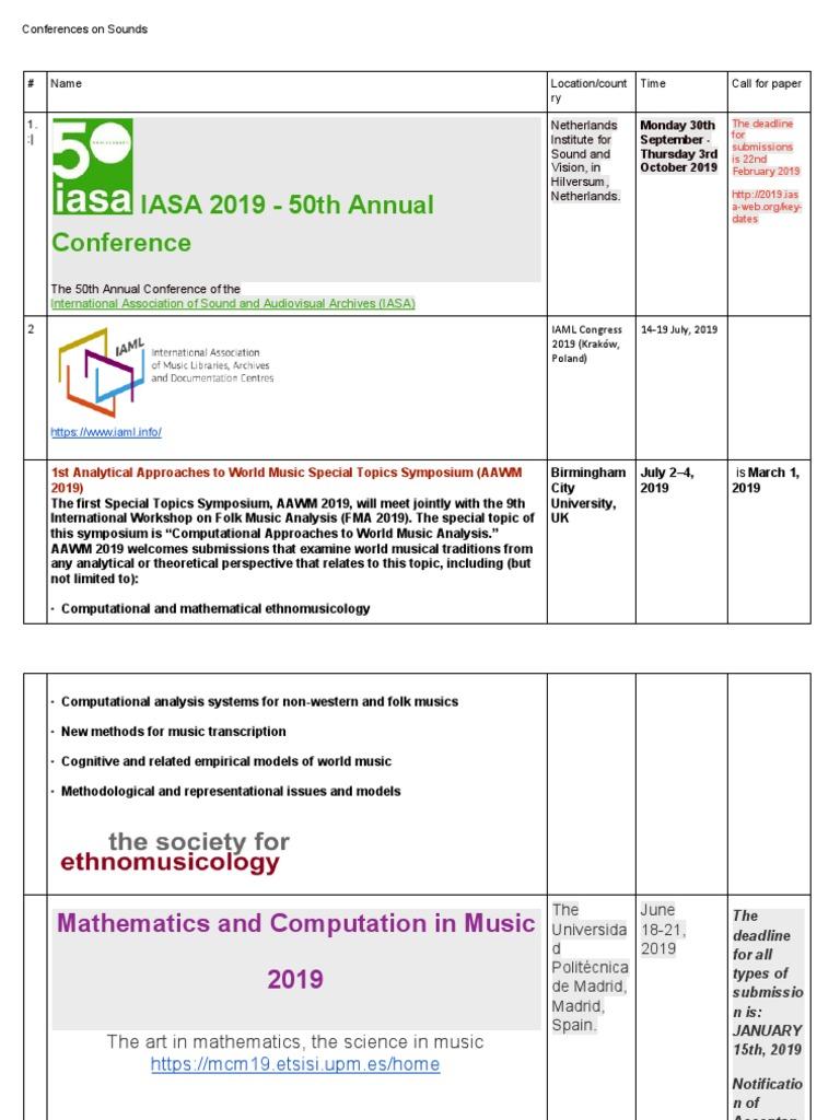 Conferences on Sounds pdf | Cognition | Psychology
