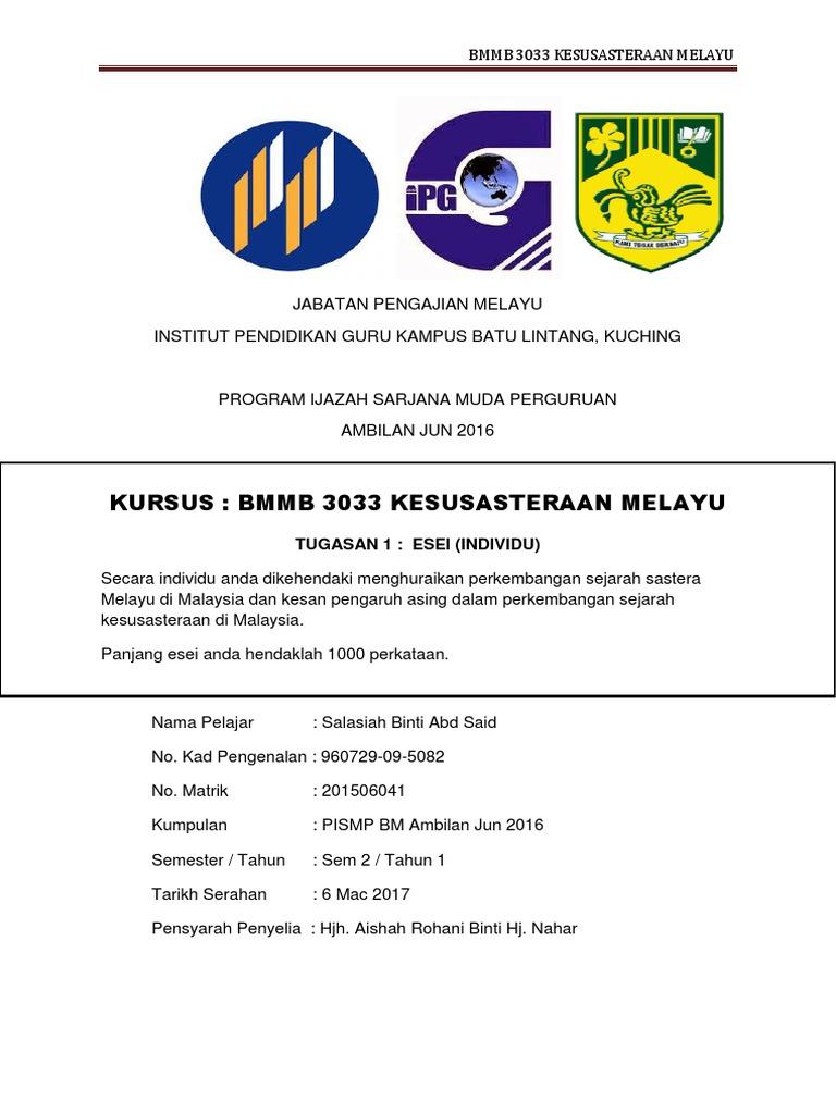 Tugasan 1 Sastera Melayu Docx