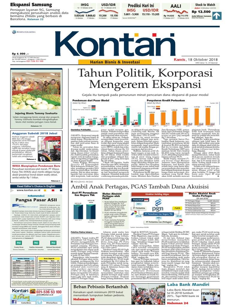 Kontan Harian Edisi 18 10 2018 Pdf