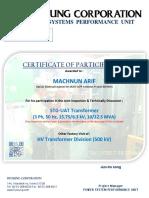 FAT Certificate of UAT 15.79 kV / 6.3 kV