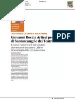 Giovanni Boccia Artieri Presidente di Santarcangelo dei Teatri - Corriere Romagna del 23 marzo 2019