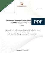 Quelques Éléments de l'Introduction de Monsieur Ahmed Lahlimi Alami, Haut-Commissaire Au Plan, à La Présentation Du Budget Economique Prévisionnel 2019 (Version Fr)