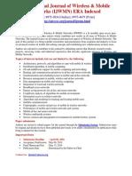 International Journal of Wireless Mobile Networks IJWMN ERA Indexed