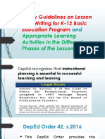 Policy Guidelines on Lesson Plan Writing for K-12