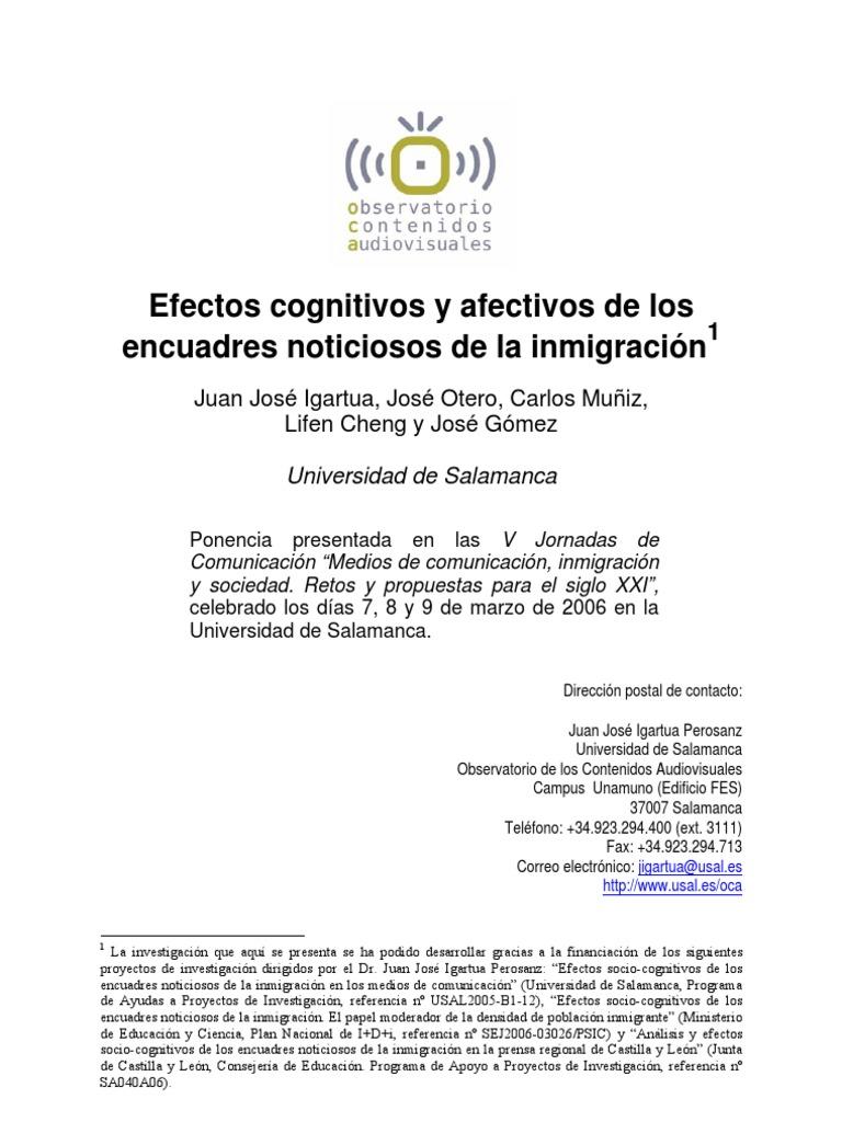 Efectos cognitivos y afectivos de los encuadres noticiosos de la ...