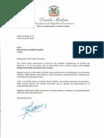 Carta de condolencias del presidente Danilo Medina a Mario Antonio Collado González por fallecimiento de su madre Francia Altagracia González Massenet viuda Collado