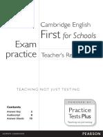 First for schools Exam practice . Teacher's resources.