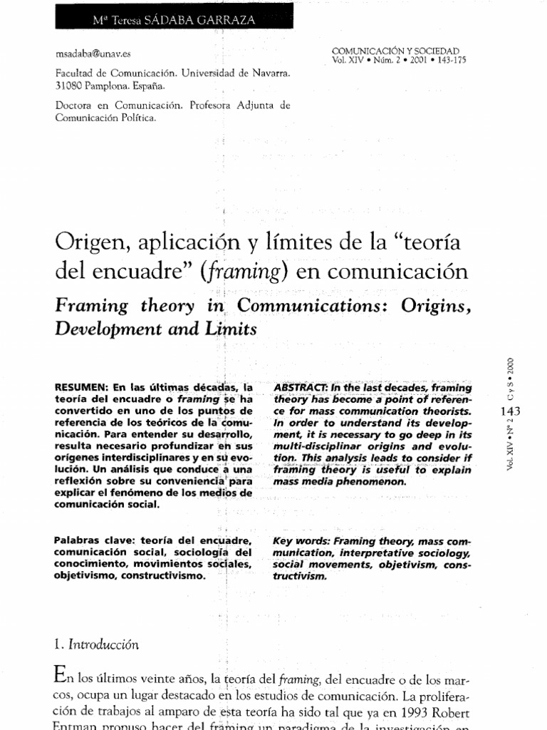 Origen, aplicación y límites de la «teoría del encuadre