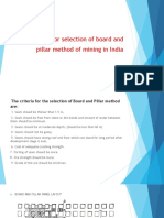 Criteria for selection of board on pillar method in India