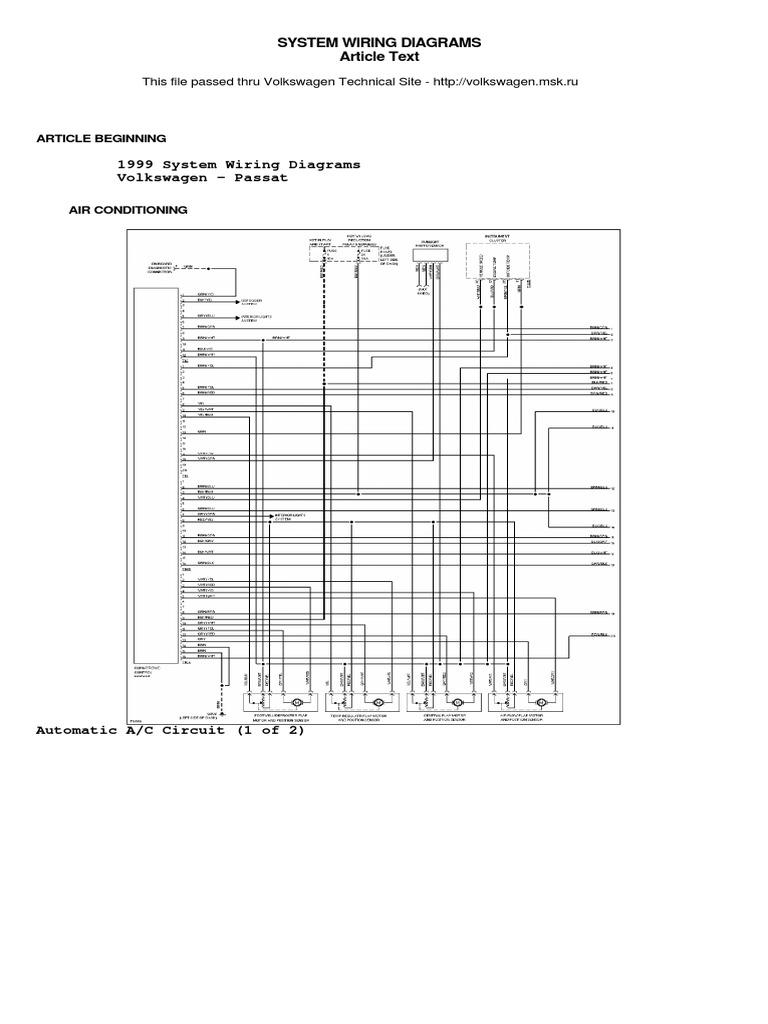 1999 Passat Wiring Diagram - Wiring Diagrams ROCK