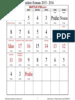 Calendario Romano 2015 - 2016