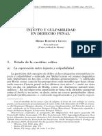Lesch, H. Injusto y Culpabilidad en el Derecho Penal