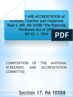 Rules and Guidelines for the Screening and Accreditation of Athletes, Coaches and Chaperons for the 2015 Palarong Pambansa_2018