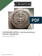 CALENDARIO AZTECA » Sus Características, Función y Significado