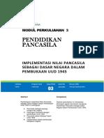 Modul Pancasila (3) Implementasi Nilai PANCASILA Sebagai Dasar Negara dalam Pembukaan UUD 1945.docx