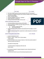 CSBE Sample Paper for Class 11 Chemistry Er