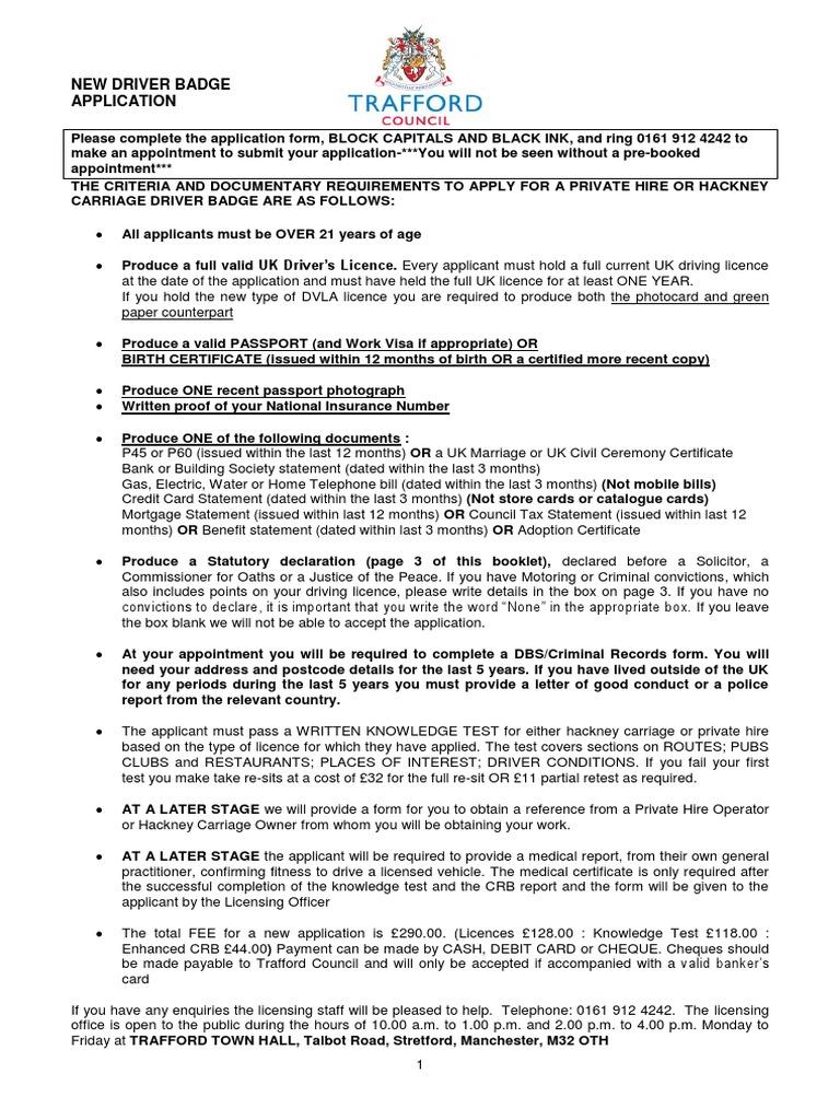 Private Hire Operators Licence Application   Driver's License