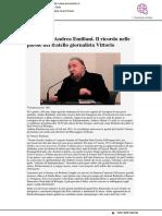 Addio ad Andrea Emiliani. Il ricordo nelle parole del fratello Vittorio - Ferraraitalia.it, 25 marzo 2019