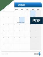 Calendario Enero 2028