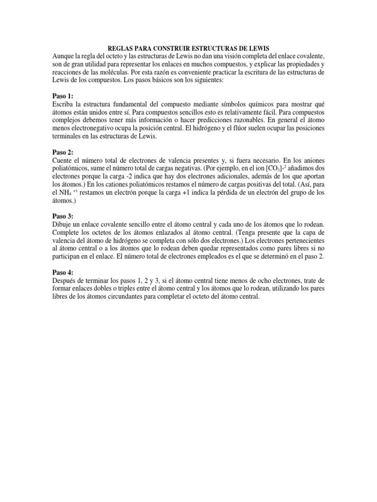 Paso 1 Reglas Para Construir Estructuras De Lewis