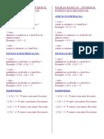 FEVEREIRO Matematica REGRAS BÁSICAS Numeros Positivos e Negativos