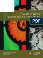 A Guide to Writing a Senior Thesis in Social Studies