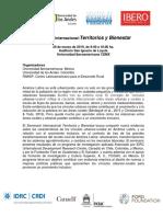 Seminario Internacional Territorios y Bienestar - 29-03-2019 - Programa - Difusion