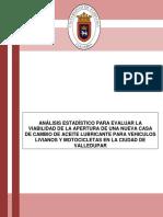 ANÁLISIS ESTADÍSTICO PARA EVALUAR LA VIABILIDAD DE LA APERTURA DE UNA CASA DE CAMBIO DE ACEITE EN VALLEDUPAR..docx