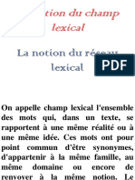 La Notion Du Champ Lexical