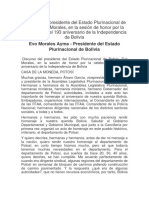 Discurso Del Presidente Del Estado Plurinacional de Bolivia