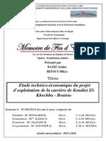 Etude technico-économique du projet d'exploitation de la carrière de Koudiet El- Khechba - Bouira-.pdf