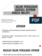 Masalah Dalam Pengajaran Makna Leksikal Antonym Bahasa Melayu