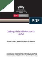 Catálogo BUACM y Pestaña de Referencias de Word