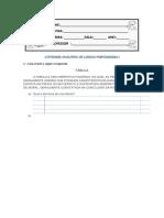Atividade Avalitiva de Lingua Portuguesa i