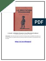 A. Souché - La Récitation Française Au Cours Élémentaire