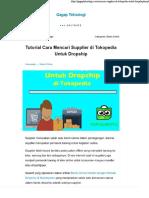 Tutorial Cara Mencari Supplier Di Tokopedia Untuk Dropship - Gagap Teknologi