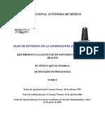 Plan de Estudios de La Licencitura en Pedagogía Tomo I