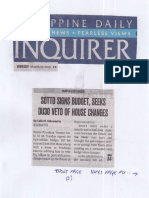 Philippine Daily Inquirer, Mar. 27, 2019, Sotto signs budget, seeks DU30 Veto of House changes.pdf