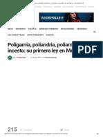 Poligamia, Poliandria, Poliamor y El Incesto en México