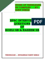 Bpsc Kohli and Naseem Sb Question