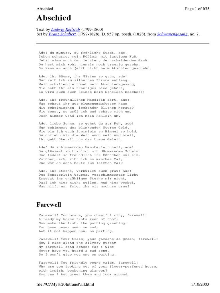 Schubert Lieder   complete Texts deutsch, englisch, espanol   25 ...