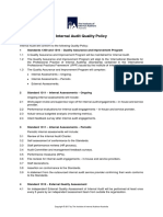 Internal audit quality policy