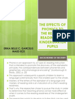 The Effects of Phonics to the Reading Readiness Thesis Seminar