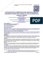 UTILIZATION OF IMMUNIZATION SERVICES AMONG CHILDREN UNDER FIVE YEARS OF AGE IN KIRINYAGA COUNTY, KENYA