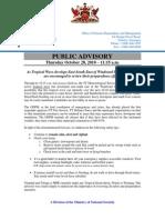 ODPM Public Advisory - October 28, 2010